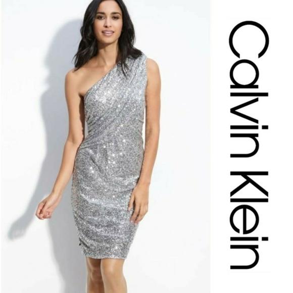 Calvin Klein Dresses & Skirts - Calvin Klein Dress One Shoulder Sequin Silver 8